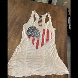 Wet Seal * American Flag Heart * Shredded Back